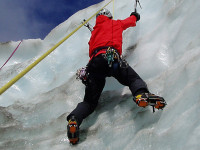 ice climbing on a private instruction mountaineering course