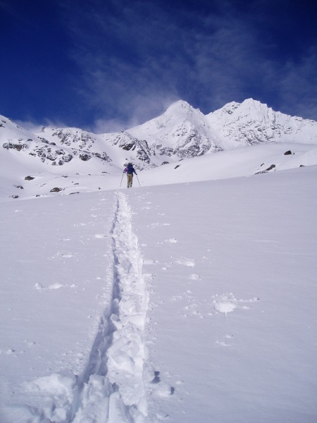 ski touring with a mountain guide