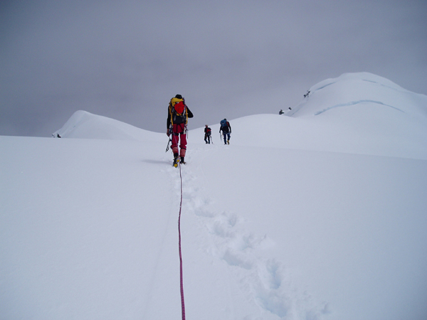 Climbing a peak during an instruction course