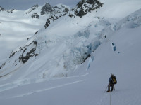 Alpine climbing with a guide