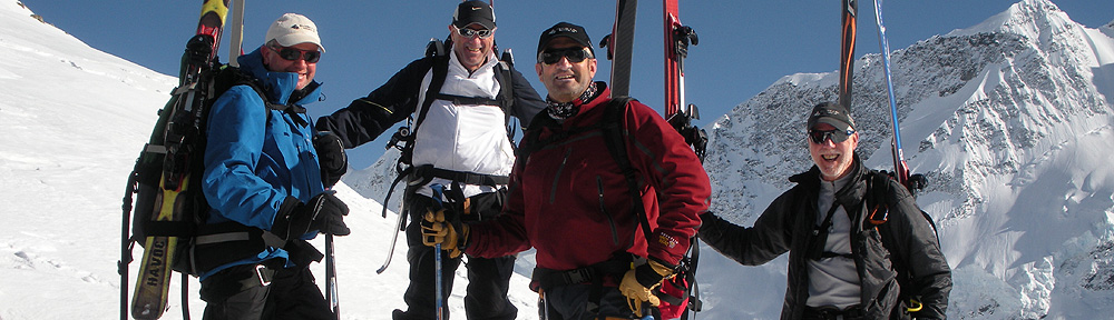 Phil(right) and mates previously on a ski tour in the Murchesion glacier area.