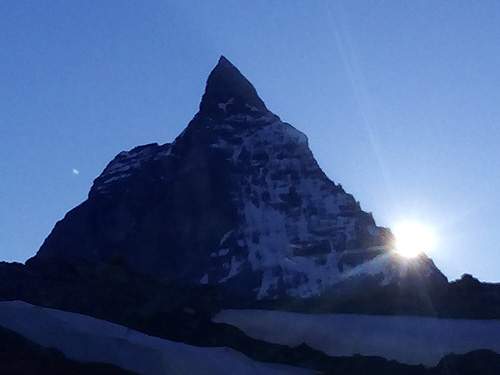 "The Matterhorn at sunset on the classic ""spagetti tour"" MonteRosa Chain , Switzerland/Italy."