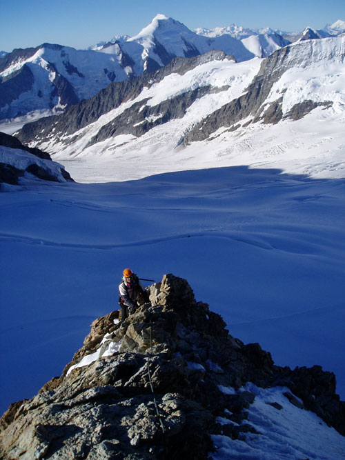 mountain guiding in Switzerland on the 4000m Monch