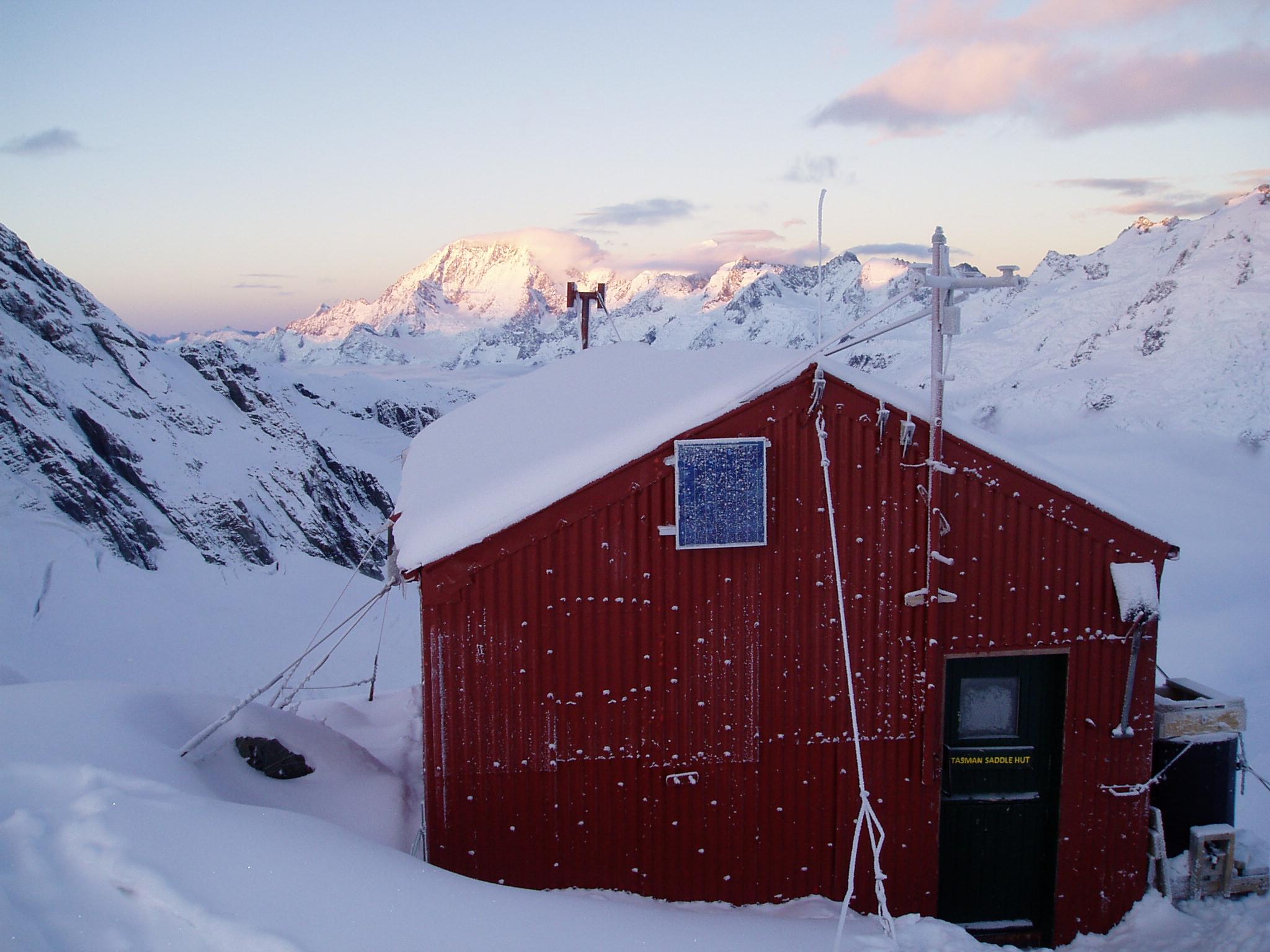 Freshly coated Tasman Saddle hut