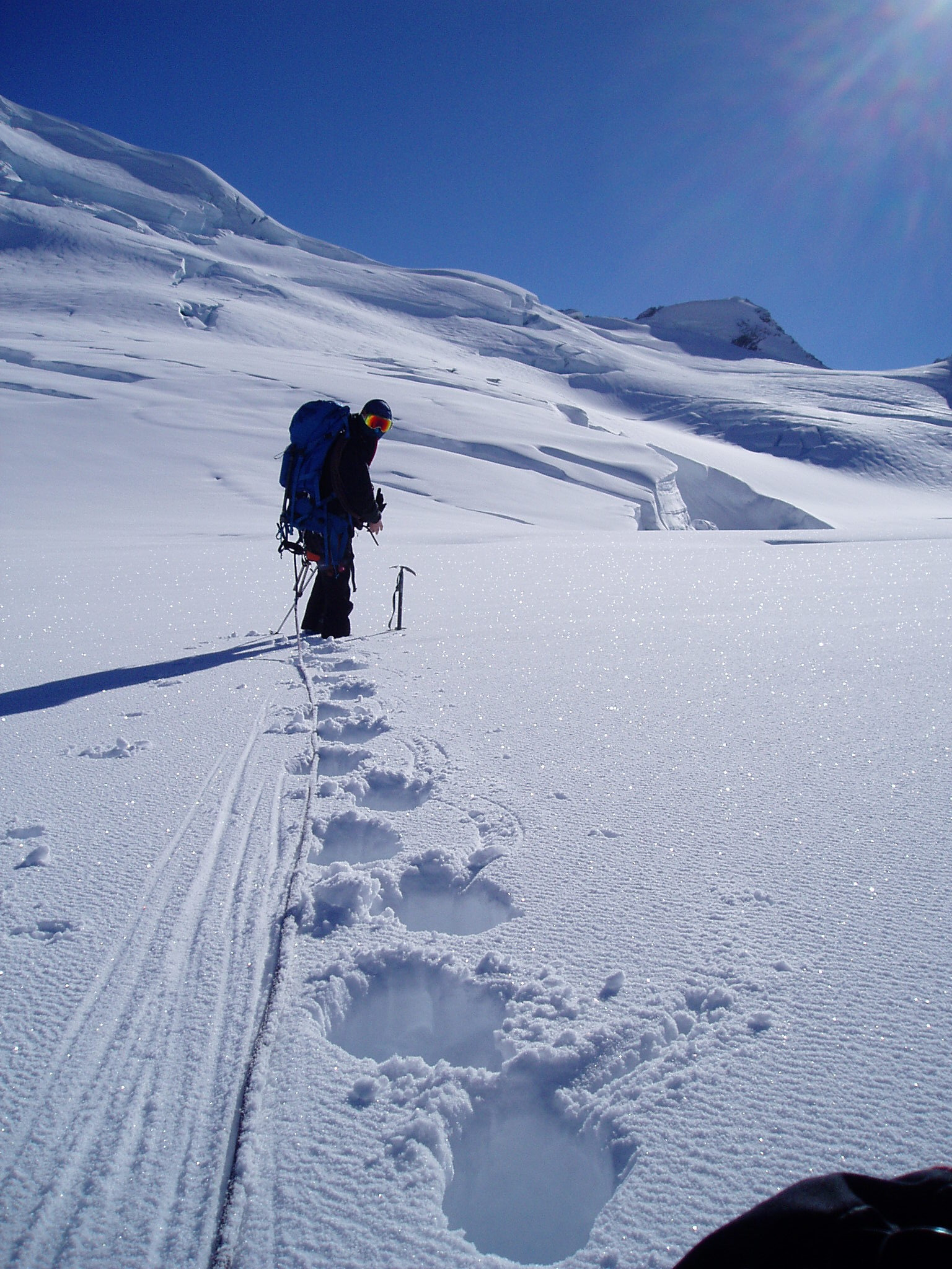 Fresh snow during the alpine climbing instruction course