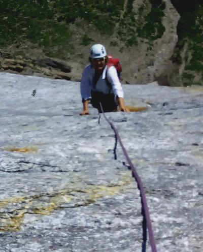 Classic Swiss granite slab climbing
